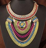 Wholesale Multilayer Choker Bib Necklace - Women Luxury Multilayer Chain Pendant Bib Statement Necklace