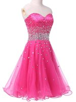2016 vendita calda vestidos de fiesta cortos partito una linea di abiti da cocktail senza maniche Sweetheart Lace-up mini Prom Dress Homecoming con Cristalli