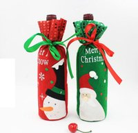 Wholesale Cheap Bottle Bags - Red Wine Bottle Covers christmas table decorations Articles Christmas Gift Bags Wine Packaging christmas Cheap decorations
