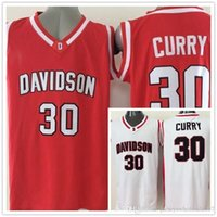 Wholesale University Blue Shirt - Throwback #30 Stephen Curry Davidson Wildcats College Jersey Home Red White Top Quality Stitched University Basketball Shirts