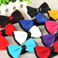 Wholesale red bow tie for men - 14 Color Business Bow Ties Monochrome Double Tie Groom Ties for Men Wedding Suits Drop Shipping