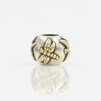 zweifarbiges material großhandel-Großhandel Perlen 100% 925 Sterling Silber Bead Material Zwei Tone Rhodium und Vergoldung Libelle Bead Elegant Charm Fit Silber Armband
