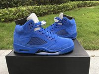 Wholesale Box Top Labels - Air Retro 5 blue raging bulls Anger Men Basketball Shoes Top Quality the original Label US8-13 5s With Original Box DHL Free Sneakers