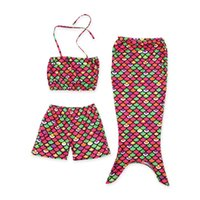 bambini ragazza sirena spa suit 3pcs bretelle top shorts con footies fondo boutique set di nuoto per bambini ragazza spiaggia abbigliamento al dettaglio