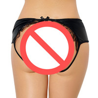 hot New Fashion Faux Leather Donna Sexy pantaloni neri Lady's Lingerie G-String Thongs Nighwear Underwear Multi Size