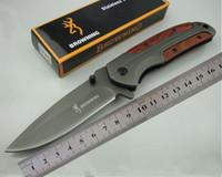 Wholesale edc belt - Folding knife DA43 Browning fast open knives 440C 57HRC steel + rosewood Handle with belt clip 1pcs wholesale