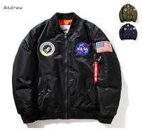 bahar ceketi bombacı erkekleri toptan satış-NASA Mens MA1 Bombacı Ceket Insignia USAF Kanye West Hip Hop Spor Erkek Rüzgarlık Ceket Bayrak Erkek Bahar Ince kesit Ceket XXXXL
