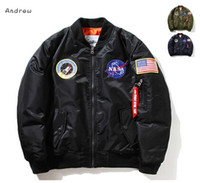 Wholesale Mens West - NASA Mens MA1 Bomber Jacket Insignia USAF Kanye West Hip Hop Sport Male Windbreaker Jacket Flag Mens Spring Thin section Jacket XXXXL