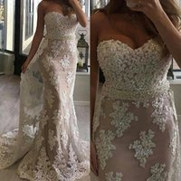 Wholesale Mermaid Dress Waistband - 2018 Strapless Lace Mermaid Evening Dresses Tulle Applique Beaded Waistband Sweep Train Party Prom Dress Formal Gowns