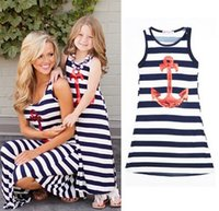 Wholesale Girls Baby Dresses Sequin - Girls Striped Sequins mother daughter matching dresses anchor dresses Family Outfits Baby girl Sundress Mother daughter clothes Beach Dress