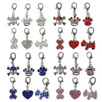 Wholesale dogs cloths - (24pcs  Lot )Nice Pet Dog Grooming Accessories Diy Dog Pendants Tags For Personalized Collars Necklace Mixed 6 Styles 4 Colors