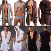 homens vestes sexy venda por atacado-Atacado-1pcs alta qualidade homens roupões de banho plus size Manview robe para homem mens sexy sleepwear masculino quimono seda sleepwear