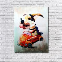 Wholesale Funny Pictures Cartoon - 100%Hand Made Funny Dog Drive Car Oil Painting On Canvas Modern Canvas Wall Art Living Room Decor Picture