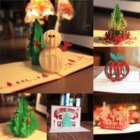 Wholesale Kirigami Christmas Tree - New Handmade Merry Christmas Greetings Cards Kirigami 3D Pop up Christmas Tree Snowmen Card wholesale hot