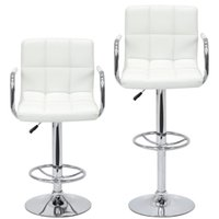 Wholesale White Bar Stool - Set of 2 Swivel Hydraulic Height Adjustable Leather Pub Bar Stools Chair- White