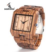 Wholesale Bird Belt - Bobo Bird New Arrival Men Watch L24 Zebra Wooden Watch Mens Luxury Brand Design All Wood Quartz Wristwatch In Gift Box