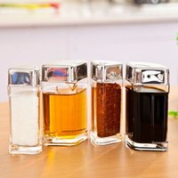 Wholesale 12 Freeshipping Cooking Supplies Acrylic Salt Sugar Oil Vinegar Bottle Spice Seasoning Box Jar Sauce Pot Set of Rotating with Stand