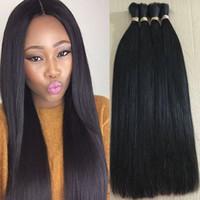 Wholesale Double Drawn Hair Bulk - Straight Natural Color 100% Raw Unprocessed Human Hair Weave Double Drawn Hair Bulk 10 To 30 Inches 3 Bundles Lot Virgin Human Braiding Hair