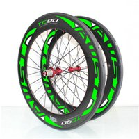 Wholesale Green Clincher - Free shipping AWST 100% carbon road bike wheels 88mm 700C clincher green carbon wheels width 23mm with powerway lightweight carbon wheelset