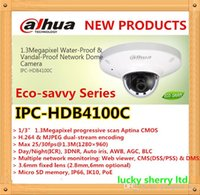 Wholesale Wired Ip Camera System - Free shipping Dahua security camera system 1.3megapixel cam ip water-proof & vandal-proof network poe dome camera IPC-HDB4100C