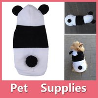 Wholesale Panda Ornament - Cute Pet Dog Cat Fleece Panda Clothes Dog Cat Warm Coat Dog Cat Costume Outwear Apparel Winter Clothes
