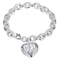 Wholesale Thick Bangle Bracelets - 925 Silver Plated Bracelet Solid Thick Bracelet with Hollow Heart Shaped Charms Bangle Bracelet Valentine's Day Gift High Quality