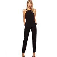 Wholesale Womens Plus Size Cotton Jumpsuits - Women Casual Plus Size Overalls Summer Style Black Back Zipper Hollow Sleeveless Long Playsuits Rompers Womens Jumpsuit TEM8800
