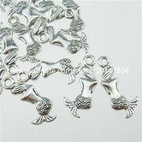 Wholesale Mini Sat - 13295 50PCS Vintage Silver Tone Mini Alloy Beautiful Sitting Mermaid Pendant