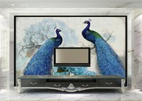 Wholesale Kitchen Oil Proof Wallpapers - 3D wall murals wallpaper custom picture mural wallpaper Blue peacock retro floral oil painting rich 3d TV background wall home decor