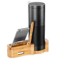 Wholesale Dock Station For Iphone Speaker - Handmade Natural Bamboo Wood USB Charging Dock Station for Echo and Bracket Desk Holder Cradle Stand For Echo Speaker iPhone