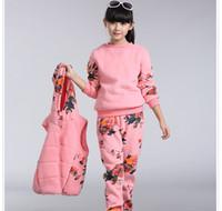Wholesale Warm Children S Set - Winter children clothes warm clothing girl T-shirt+vest+pants 3 pieces kids floral clothes sets 5 s l