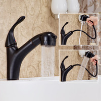 Wholesale Antique Brass Single Handle Faucet - American standard Antique Vessel Ceramic Valve Pull out  pull down Single Handle One Hole with Oil-rubbed Bronze Bathroom Sink Faucet