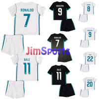 Wholesale S Numbers - 1718 Real Madrid Kids Soccer Jerseys With Name And Number RONALDO Home white Away Black ASENSIO BALE RAMOS ISCO MODRIC Kits Football Suit