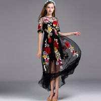 Wholesale Big Flowers Decals - Summer Sicilian flowers feast heavy industry embroidery decals net yarn big dresses holiday style wind skirt