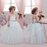 Wholesale Royal Wedding Fancy Dress - 2016 Beautiful Mint Ivory Lace Tulle Flower Girl Dresses Birthday Wedding Party Holiday Bridesmaid Fancy Communion Dresses for Girls