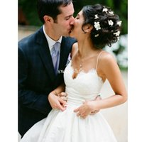 Wholesale New Design Skirt - New Design Formal 2017 A line Wedding Dresses Spaghetti Straps Lace Appliques Backless Empire Satin Floor-length country Bridal Gowns