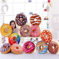 Wholesale Plush Hamburger - 10PCS Christmas Gift doughnut Hamburger Cushion Emoji Decorative Pillows Cute plush toys doughnut Cushion for girl B0734