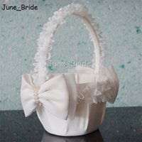 Wholesale lovely bridal resale online - Lovely Bridal Wedding Flower Basket Ivory Lace Decorated Handmade Pearl Bowknot Flower Girl Baskets High Quality New Style Wedding Accessory