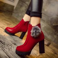Wholesale New Stylish Platform Shoes - Autumn Winter New Korean Style Women's Female Stylish Mujer High Chunky Heels Platform Cotton Warmth Ankle Boots Bottine Shoes Zapatos C038