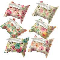 Wholesale Tissue Floral Napkins - Wholesale- Floral Pattern Decorative Tissue Boxes Fabric Linen Cover Car Home Office Bathroom Napkin Holder Tissue Case Box Towel H