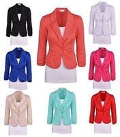 Wholesale Casual Cotton Blazer Womens - New Womens Color Blazer Jacket Suit Work Casual Basic Long Sleeve Candy Button