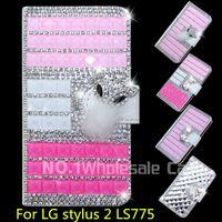 Wholesale Stylus Metal Cases - 3D Luxury Bling For LG stylus 2 LS775 Flip Bling leahter case cover Diamond crystal holder wallet
