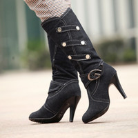 Wholesale High Heel Tall Fashion Boots - Autumn and winter female boots Women Shoes Buckle denim fabrics Tall fashion Sexy high-heeled Knight boots