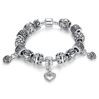 Wholesale Antique Sterling Bangle - New Design Pandora Beads Antique Silver Charm Bracelet & Bangle Silver 925 With Heart Pendant for Women Wedding Vintage Jewelry Wholesale