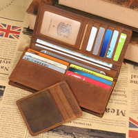 Wholesale Handmade Thanksgiving Cards - 2017 New wallet High quality retro style handmade cow genuine Crazy horse leather men male long purse free shipping