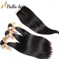 Wholesale 6a Peruvian Hair - Hair Closure Peruvian Hair Extensions Natural Color middle part top lace closures (4x4) with Bundles Hair 3pc Straight Bellahair 6A
