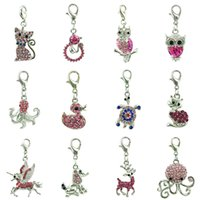 Wholesale Bulk Jewelry For Sale - Mix Sale Pink Rhinestone Floating Lobster Clasp Charms Bulk Animal Pendants Charms For Jewelry Making DIY Accessories