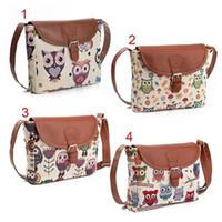 Wholesale Owl Crossbody Bags - 4 Designs Women Messenger Bags Flap Bag Lady Canvas Cartoon Owl Printed Crossbody Shoulder Bags Small Female Handbags YYA346