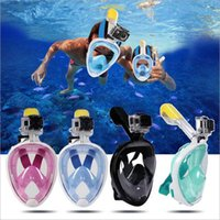 Wholesale material mask resale online - New Swimming Diving Breath Full Face Mask Surface Snorkel Scuba Anti Fog Diving Mask for SJ4000 Action Sport Camera