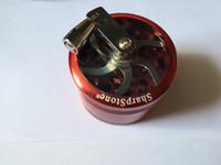 Wholesale Hand Cranked Grinder - CNC hand crank GRINDER Sharpstone herb grinder with handle metal herbal Sharp stone smoking Grinder For Tobacco Spice Crusher Muller Mill